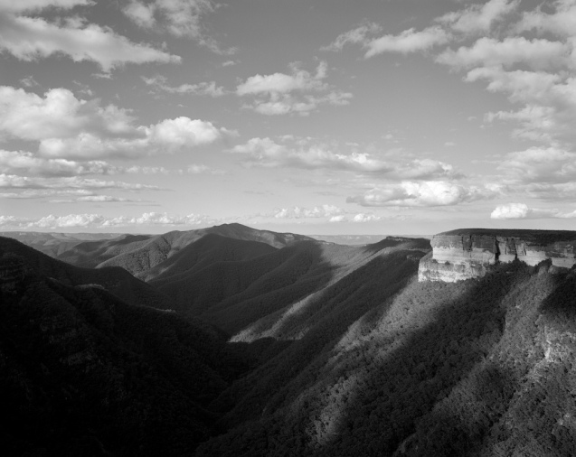 Patchwork - late afternoon light over Kanangra Walls, Craft Walls, Mt Cloudmaker, Kanangra Deep and touching the tops of the Thurat Spires