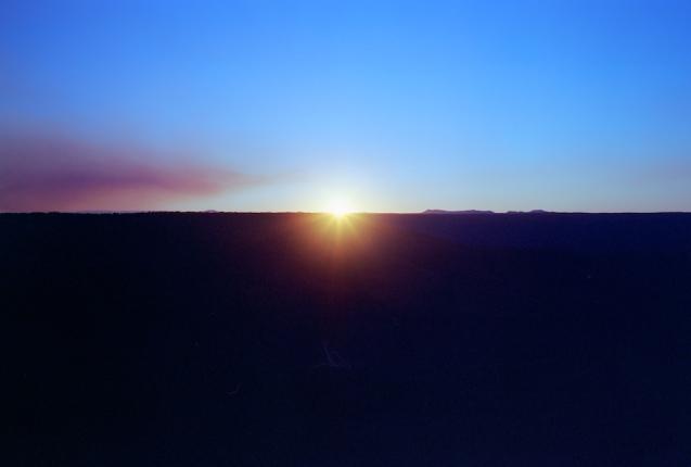 Smoke haze at sunset